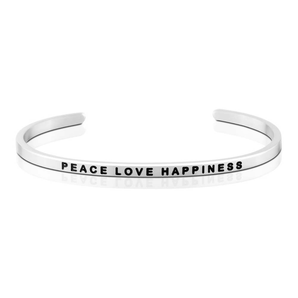 MANTRABAND 美國悄悄話手環 Peace Love Happiness 銀色