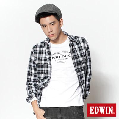 EDWIN-手肘補丁輕磨毛格紋長襯衫-男款-黑色