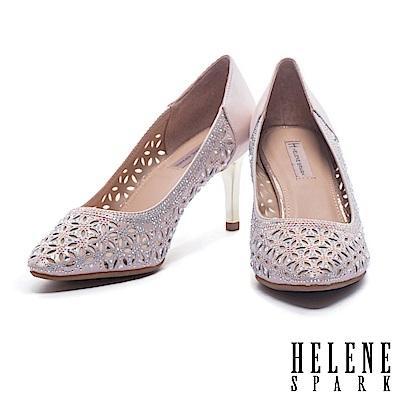 高跟鞋 HELENE SPARK 奢華閃爍晶鑽鏤空造型羊麂皮尖頭高跟鞋-粉