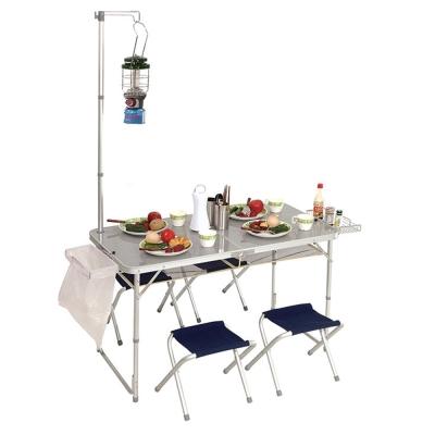 【PINUS】鋁合金折疊桌椅 (附燈架 / 4張椅 / 置物網) P13710