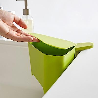 日本 YAMAZAKI-AQUA吸盤式轉角收納桶(綠)★廚房收納/小型垃圾桶架/廚餘桶