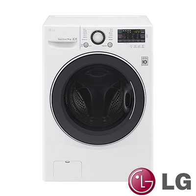 [無卡分期12期] LG樂金 14KG 變頻滾筒洗脫烘洗衣機 F2514DTGW 炫麗白