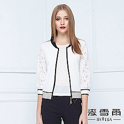 麥雪爾 韓式時尚絲質感蕾絲袖拉鍊外套