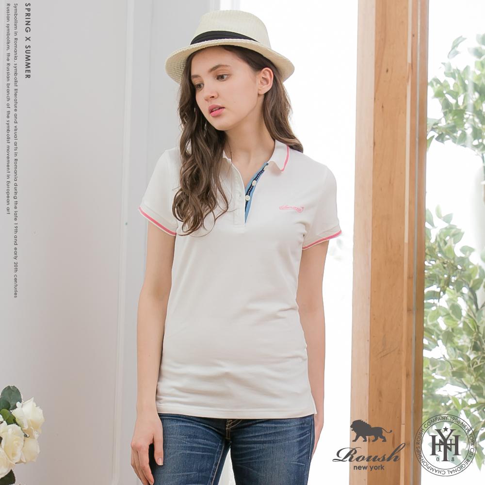 ROUSH女生織帶設計萊卡棉水洗POLO衫3色