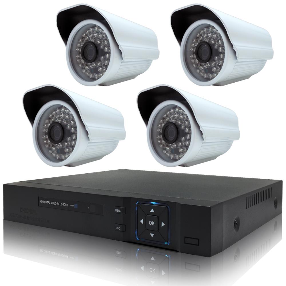 奇巧 4路HD1080P數位高清監控組(含720P130萬畫素攝影機x4)