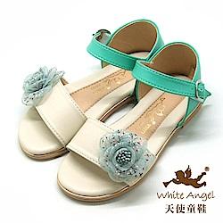 天使童鞋  清新小玫瑰雙色涼鞋J8001-米