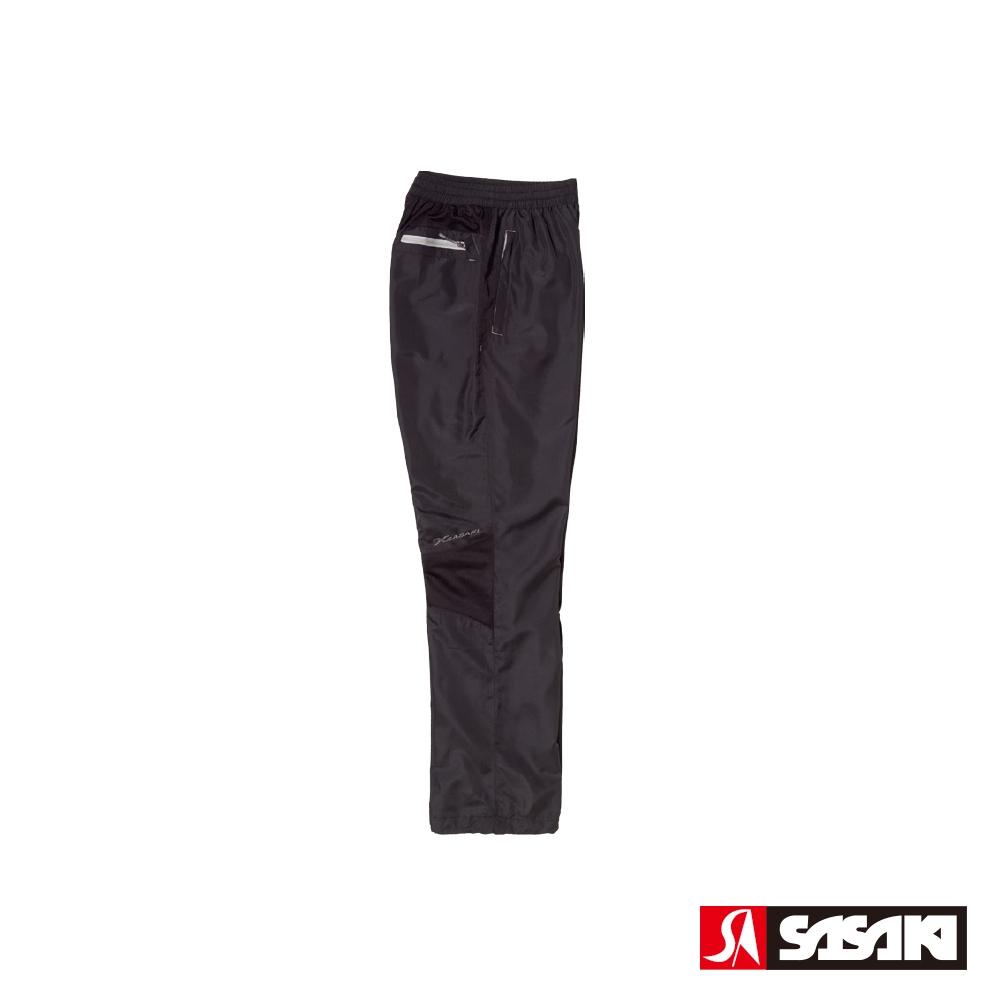 SASAKI 夜間反光功能透氣式平織運動長褲-男-黑/反光灰