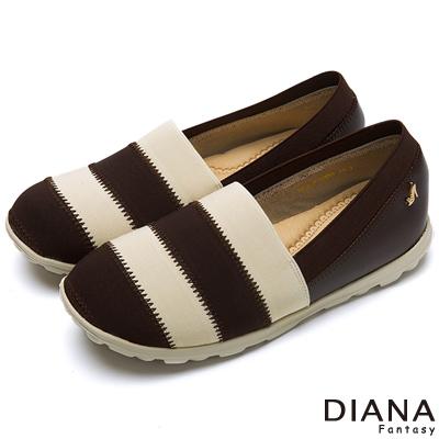 DIANA-輕-愛的-跳色雙層彈性帶超輕量樂福鞋
