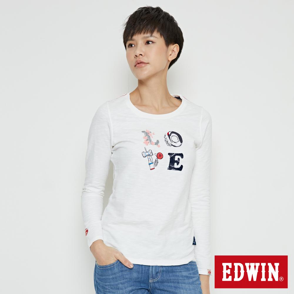EDWIN EDO KATSU 江戶勝LOVE長袖T恤-女-米白