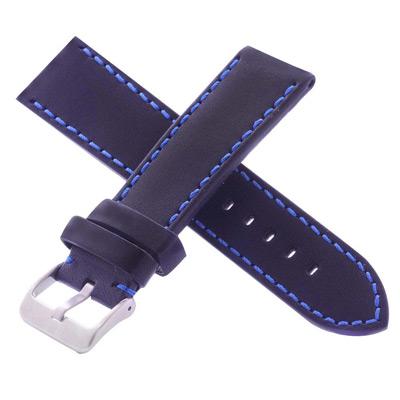 高級進口錶帶代用名廠同級黑色平紋車藍線牛皮錶帶-24*22mm