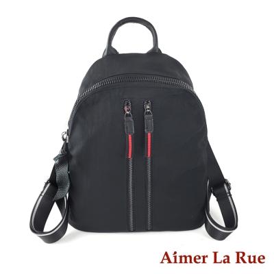 Aimer La Rue 後背包 真皮尼龍素面雙拉鍊系列(黑色)
