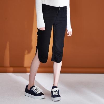 Hana+花木馬 城市休閒百搭排釦開叉設計款膝下造型馬褲(兩色)-黑