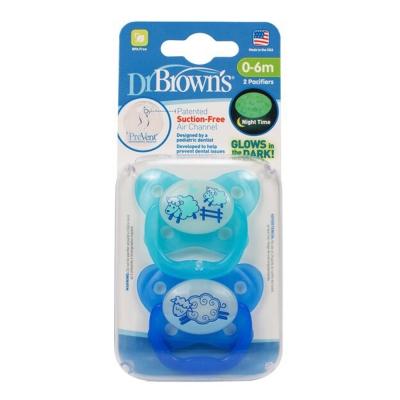 Dr. Brown美國製Pre Vent 功能性夜光安撫奶嘴2組4入(藍色)
