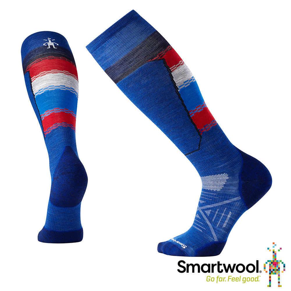 SmartWool PhD滑雪輕量菁英避震印花高筒襪藍