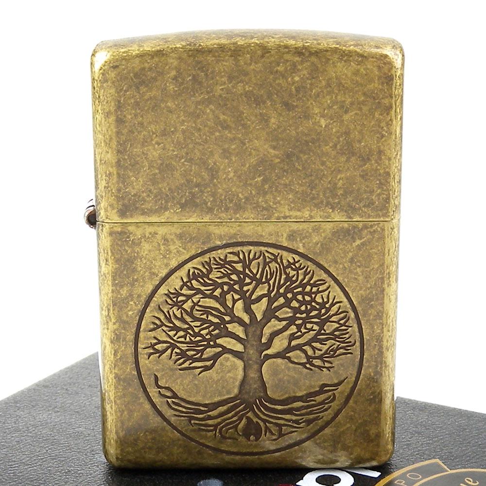 【ZIPPO】美系~Tree of life-生命之樹仿古鍍黃銅打火機
