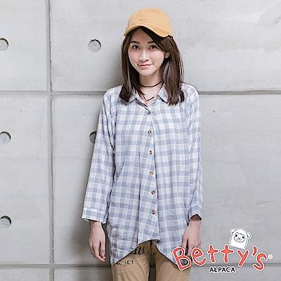 betty's貝蒂思 下擺不規則寬鬆格紋七分袖襯衫(藍色)