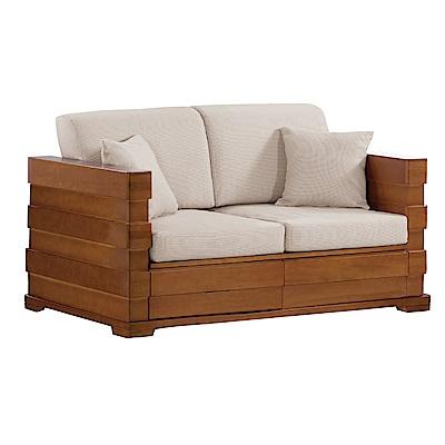 品家居 溫朵亞麻布實木收納沙發雙人座-145x80x65cm免組