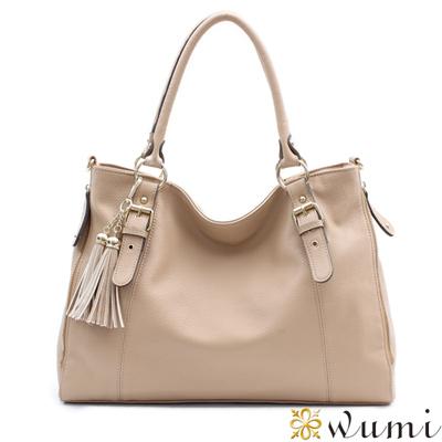 WuMi-無米-喬絲拼接美型流蘇包-奶茶杏