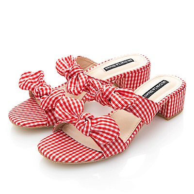 JMS-亮麗格紋布雙帶蝴蝶結低跟涼拖鞋-紅色