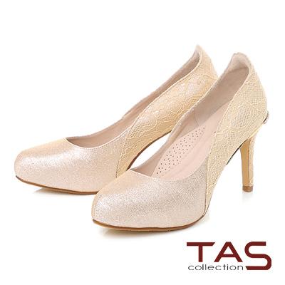 TAS 後跟水鑽蝴蝶結蕾絲拼接曲線高跟鞋-甜美膚