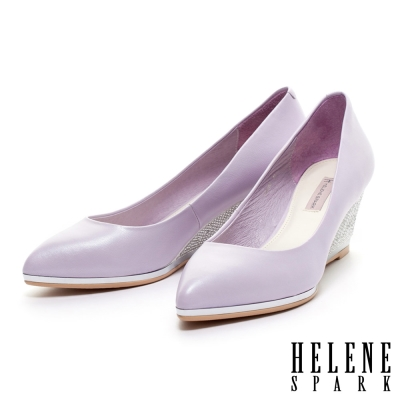 HELENE-SPARK-低調奢華羊皮素面尖頭楔型高跟鞋-紫