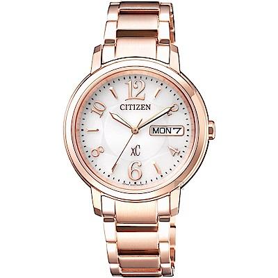 CITIZEN星辰 XC 光動能城市女錶-銀x玫瑰金/32mm(EW2422-55A)