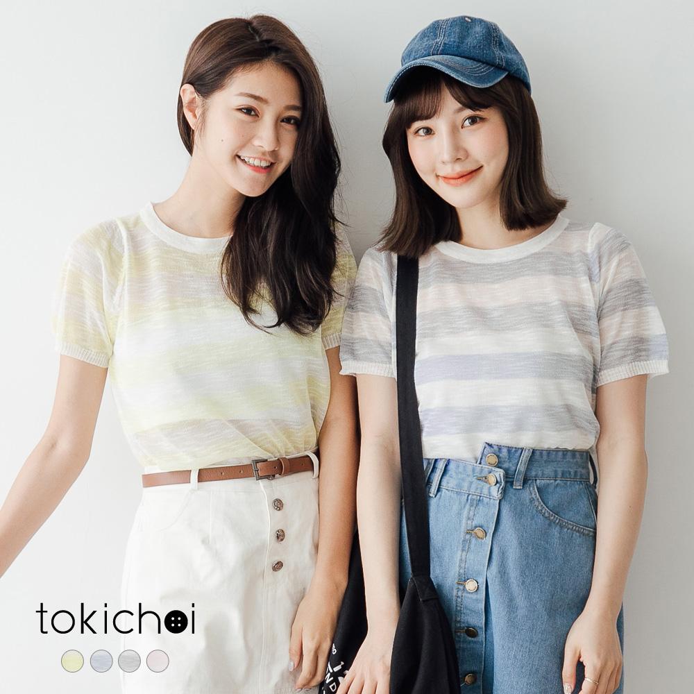 東京著衣 多色條紋透膚短袖針織上衣-S.M(共四色)