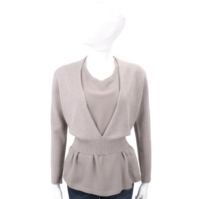 FABIANA FILIPPI 耦灰色V領美麗諾羊毛短版罩衫(75%WOOL)
