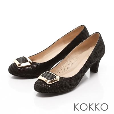 KOKKO-立體方扣真皮高跟鞋-點點黑