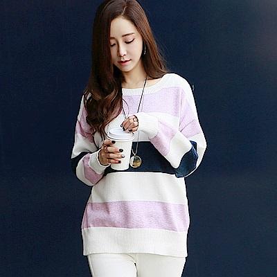 正韓 粉嫩撞色條紋長袖針織衫 (共二色)-N.C21