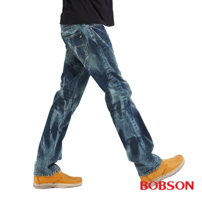 【BOBSON】 男款刷紋牛仔直筒褲 (藍53)