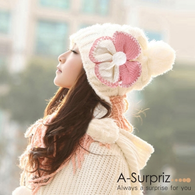A-Surpriz-雙色幸運草女孩編織毛線帽-白色