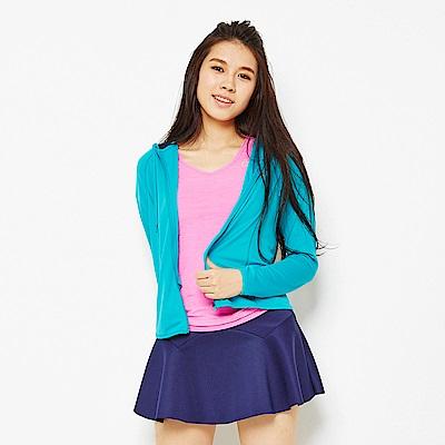 【TOP GIRL】馬卡龍色抗UV吸排連帽外套-藍綠