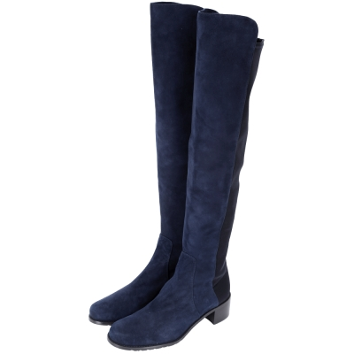 Stuart Weitzman RESERVE 麂皮拼接過膝長靴(深藍色)