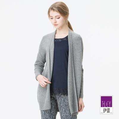 ILEY伊蕾 寬鬆羅紋袖無釦開襟外套(黑/灰)