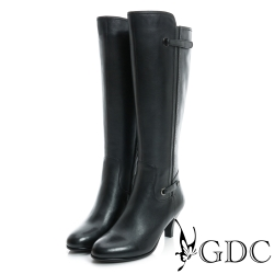 GDC個性-簡約造型側拉鍊低跟真皮長靴-黑色