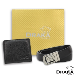 DRAKA 達卡 - 黃金禮盒 真皮皮夾+紳士皮帶-3205