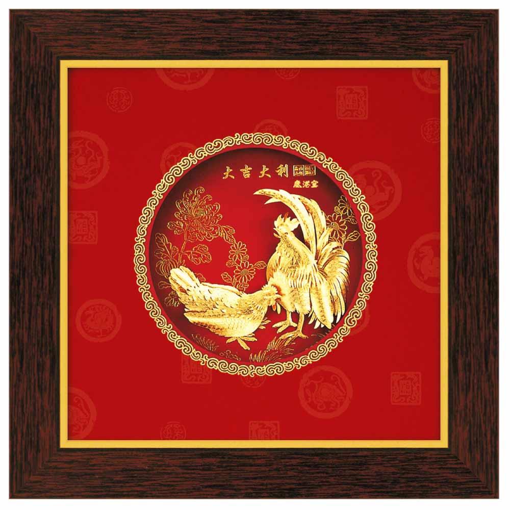 鹿港窯-立體金箔畫-大吉大利(圓形系列21x21cm)