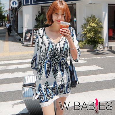正韓 民族綁帶水滴圖騰印花洋裝 (共二色)-W BABIES