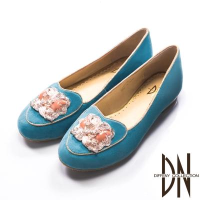 DN-星座神話-羊反毛全真皮低跟莫卡辛鞋-水藍
