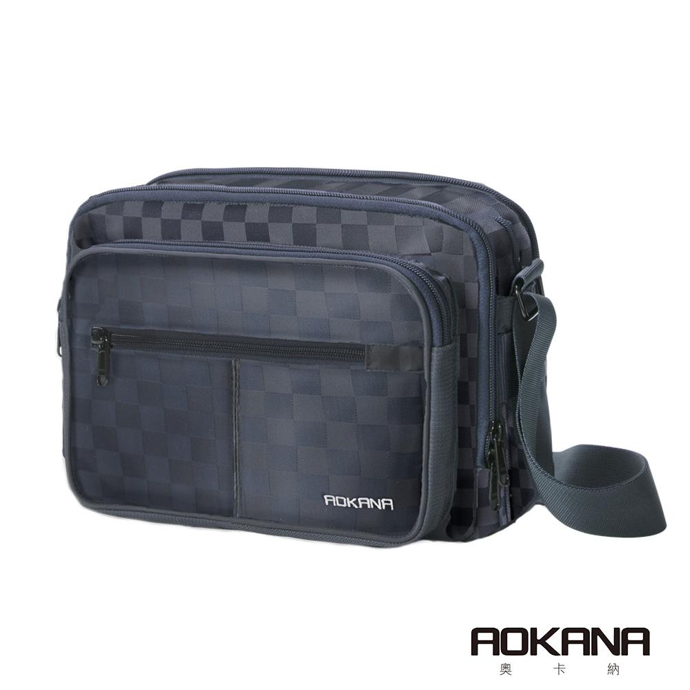 AOKANA 商務旅者Elda系列 輕旅防盜 高達15層超多層設計背包(黑格)02-040