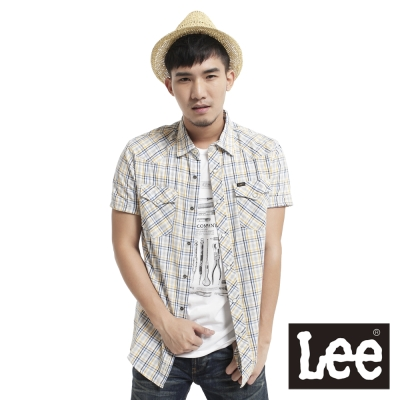 Lee 短袖襯衫牛仔襯衫版型格紋-男款(米) LL120076HAQ