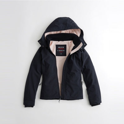 HCO Hollister 經典熱銷刺繡標誌舒適連帽風衣外套(女)-深藍色