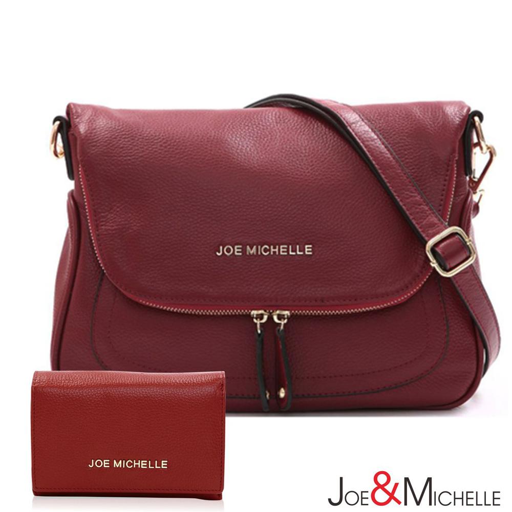 J&M  真皮輕柔艾莉莎馬鞍包夾組 嬌貴紅