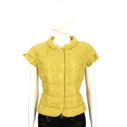 BOSIDENG 黃色蕾絲拼接短袖鋪棉外套