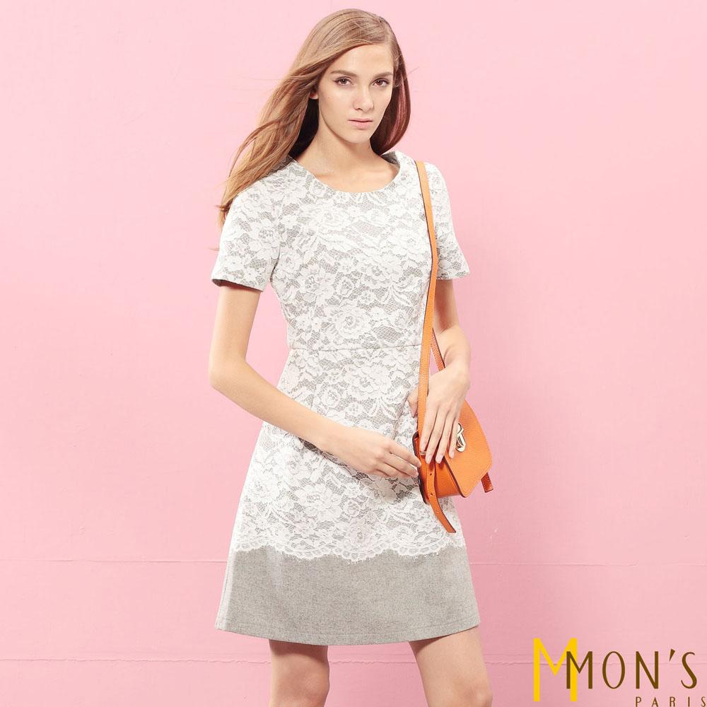 MONS 優雅毛料蕾絲洋裝