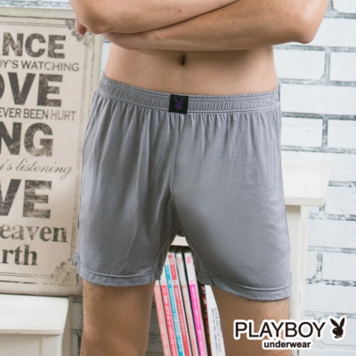PLAYBOY男內褲 MIT製涼感莫代爾四角褲-單件-淺灰色