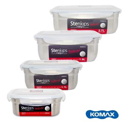 Komax 司扣易不鏽鋼密封長型保鮮盒4件組(1100/1900/2700/540ml)