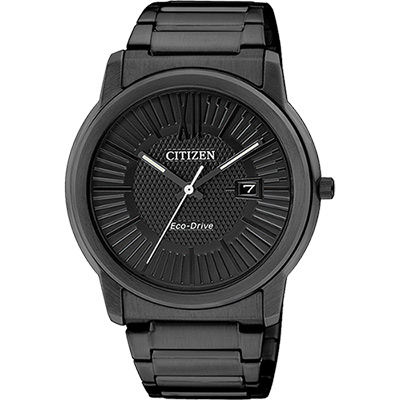 CITIZEN Eco-Drive 時尚都會大三針腕錶(AW1215-54E)-IP黑/40mm