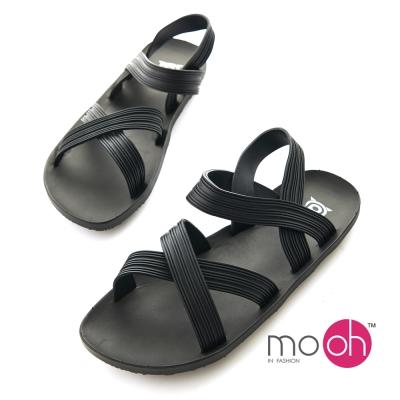 mo.oh-交叉帶果凍防水舒適沙灘涼鞋-黑